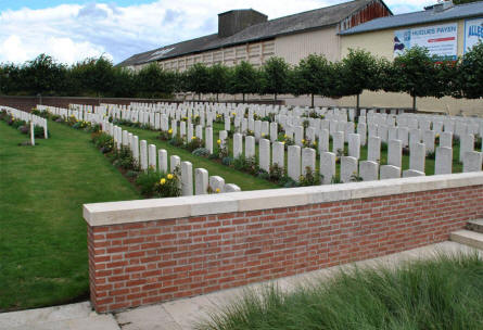 A section of the World War I graves at the  Windmill British Cemetery in Monchy-le-Preux - just east of Arras.