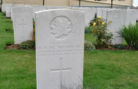 The World War I grave of Lieutenant R. D. Mc Millan (MC - killed on the 13th of October 1918) at the Windmill British Cemetery in Monchy-le-Preux - just east of Arras.