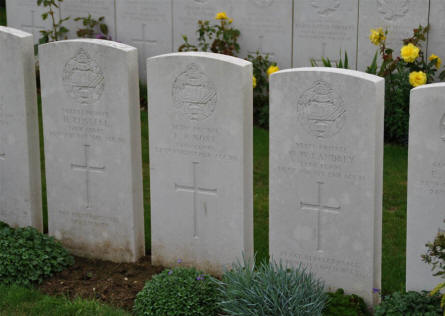 The World War I graves of soldiers from the Tank Corps at the Windmill British Cemetery in Monchy-le-Preux - just east of Arras.