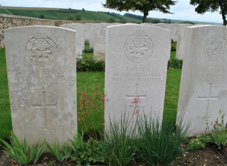 "Two of the many ""unknown"" World War I graves at the Chambrecy British Cemetery."