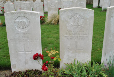 The World War I graves of Private A. Field (killed on the 20th of July 1918) and Private R. A. MC Kean (killed on the 30th of July 1918) at the Chambrecy British Cemetery.