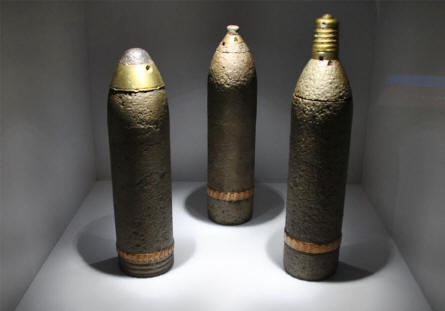 Three World War I grenades displayed at the Museum Marne 14-18 in Suippes.