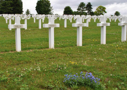 Some of the many graves at the Souain French National War Cemetery.