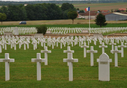 A small section of the Souain French National War Cemetery.