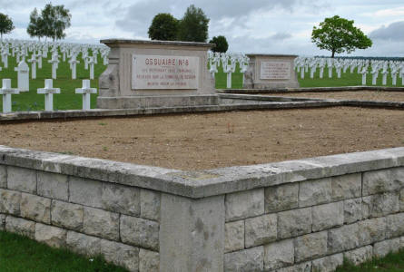 "One of the large graves of the ""unknown soldiers"" at the Souain French National War Cemetery."