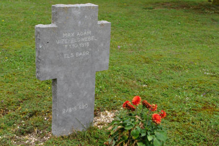 One of the many World War I graves at the Souain German War Cemetery.