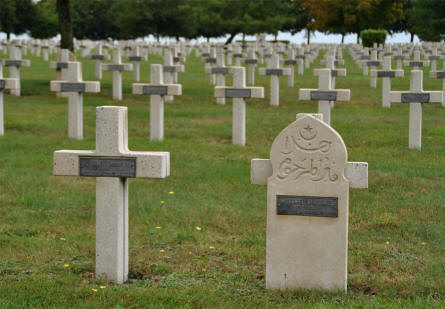 Some of the many World War I graves at the Suippes French War Cemetery. Including on of the Muslim graves.