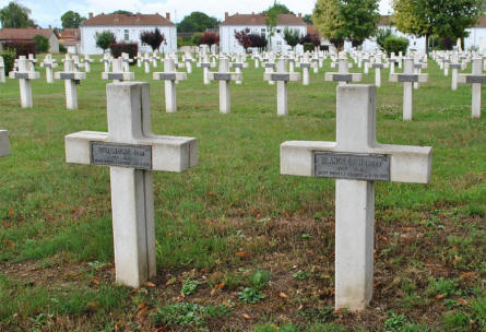 Some of the many World War I graves at the Suippes French War Cemetery.