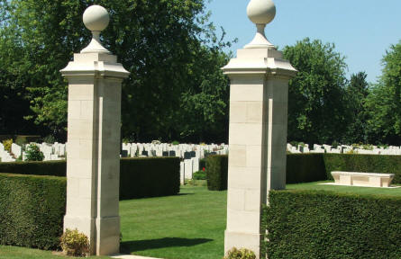 A section of the war graves at Beny-Sur-Mer Canadian War Cemetery in Reviers.