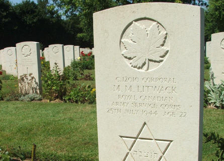 The grave of Corporal M.M. Litwack - killed on the 25th of July 1944 (22 years old) - at Beny-Sur-Mer Canadian War Cemetery in Reviers. Notice the Jewish star.