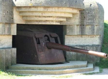 A German World War II 150 mm gun still inside the bunkers at Longues sur Mer.