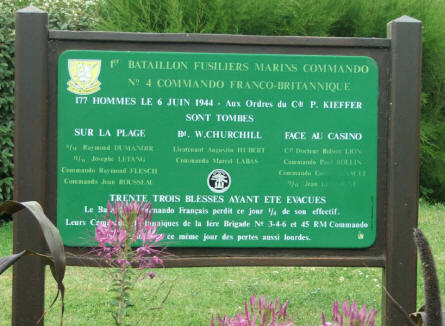 A sign at the French Commando Memorial at Ouistreham.