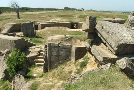 Remains of a German bunker at Point du Hoc - D-day battleground.