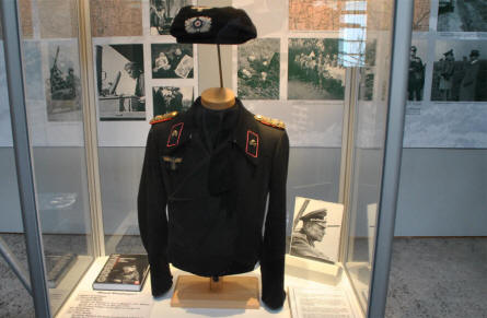 A German World War II Panzer uniform displayed at the Panzer Museum in Munster.
