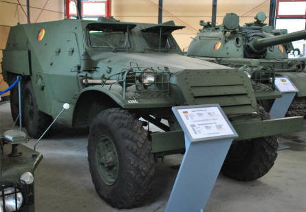 An armoured personal carrier 153 W1 - used by the East German forces - displayed at the Panzer Museum in Munster.