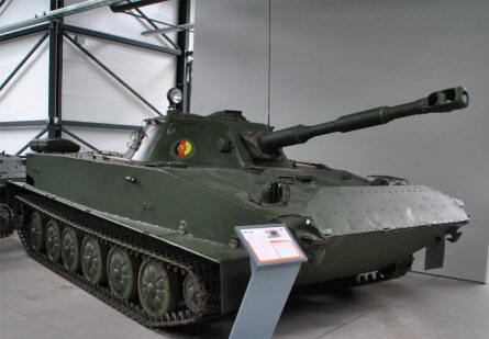"A ""Cold War"" East German PT76 reconnaissance and light fighting vehicle displayed at the Panzer Museum in Munster."
