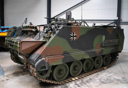 An American made M113 mortar carrier - used by the West German forces - displayed at the Panzer Museum in Munster.