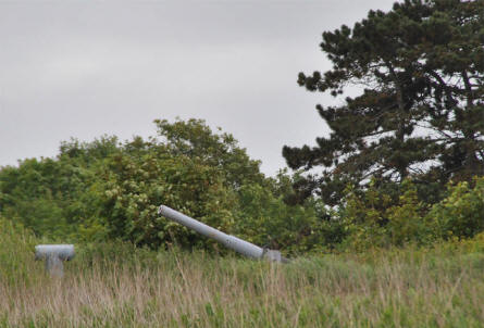 One of the hidden guns at Fort Kugelbake in Cuxhaven.