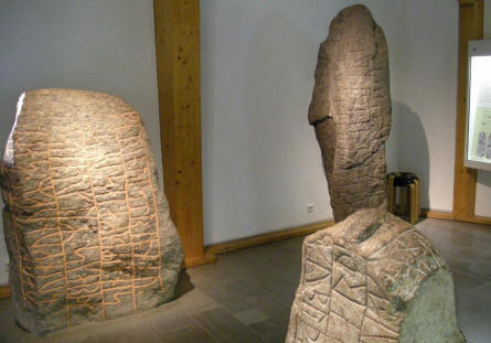 Some of the old Viking rune stones displayed at the Viking Museum Haithabu.