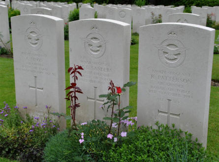 The graves of a World War II Royal Air Force crew at the Hamburg War Cemetery. The crew was shot down on the 11th of November 1944.