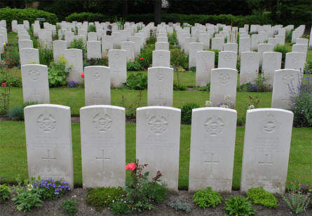 Some of the many World War II graves at the Hamburg War Cemetery.