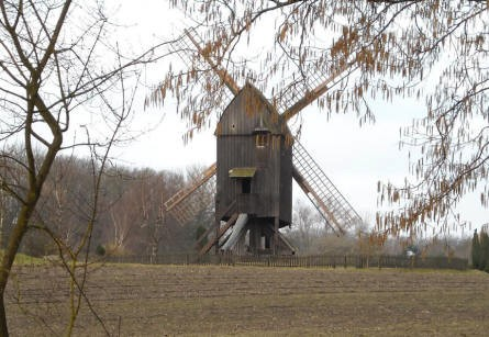 A traditional North European windmill at the International Wind - & Watermill museum in Gifhorn.