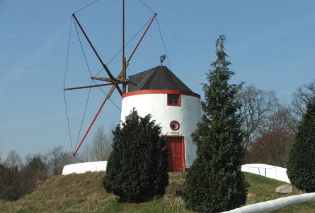 A traditional South European windmill at the International Wind - & Watermill museum in Gifhorn.
