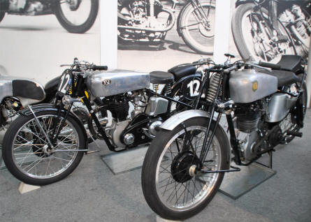 Two of the vintage NSU race motorcycles displayed at the Hockenheim-Ring Motor Sports Museum.