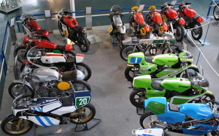 A small collection of the classic race motorcycles displayed at the Hockenheim-Ring Motor Sports Museum.