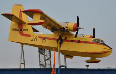 A Canadair CL-215 fire fighting aircraft displayed at the roof of the Sinsheim Technical Museum.