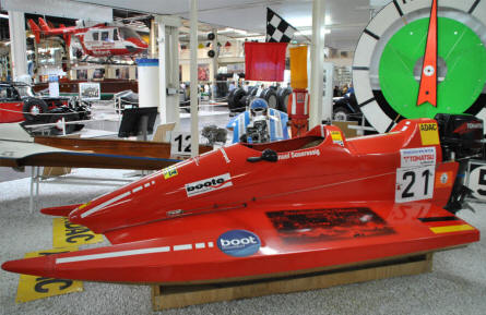 A super fast race speedboat displayed at the Sinsheim Technical Museum.