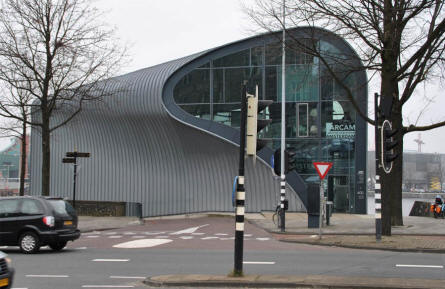 One of the many modern and futuristic buildings in Amsterdam. This building belongs to ARCAM - Amsterdam Centre for Architecture.