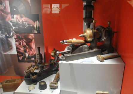 Some of the diamond cutter tools displayed at the Diamond museum in Amsterdam.