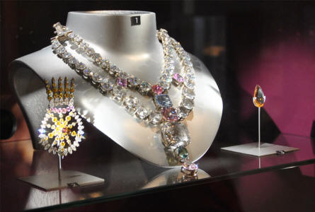 Some of the impressive diamond jewellery displayed at the Diamond museum in Amsterdam.