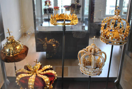 Some of the diamond-filled crowns displayed at the Diamond museum in Amsterdam.