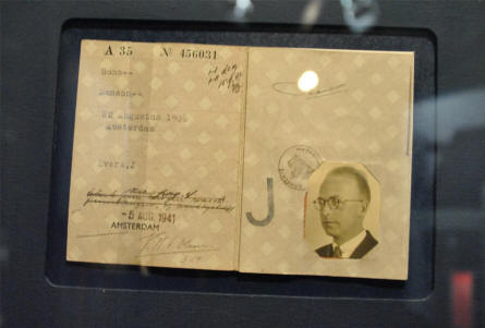 A falsified ID for a Dutch freedom fighter displayed at the Dutch Resistance Museum in Amsterdam.