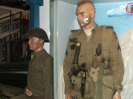 Some of the American and British World War II uniforms displayed at the Arnhem War Museum.
