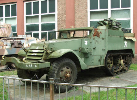 An American half-tracked vehicle displayed outside the Arnhem War Museum.