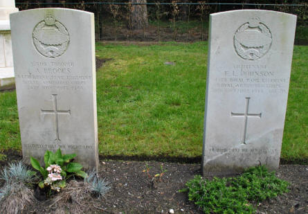 The graves of Lieutenant E. L. Johnson and Trooper A. Brooks of the Royal Armoured Corps at the Valkenswaard War Cemetery. Killed in November 1944.