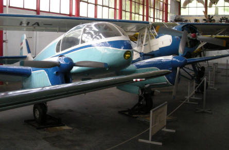 A two engine Super Aero aircraft displayed at the Budapest Aviation Museum - Közlekedési Transport Museum.
