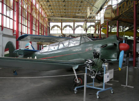 A more post World War II Jakovlev Jak 18 single engine trainer displayed at the Budapest Aviation Museum - Közlekedési Transport Museum.