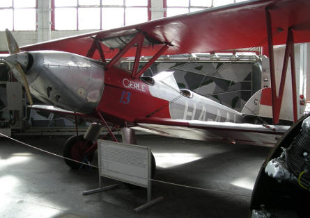 An old double-decker aircraft displayed at the Budapest Aviation Museum - Közlekedési Transport Museum.