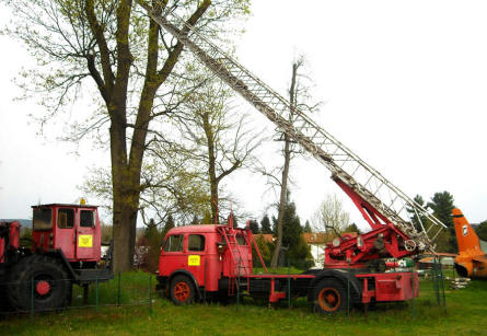 A fire fighting ladder displayed at the Museum Gottard Park.