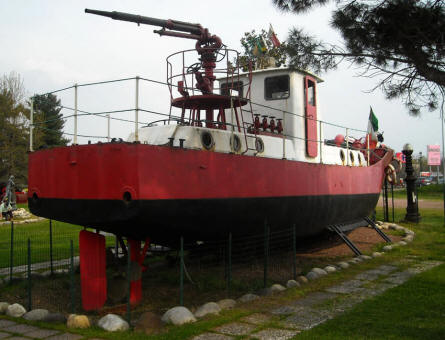 An old fire fighting vessel displayed at the Museum Gottard Park.