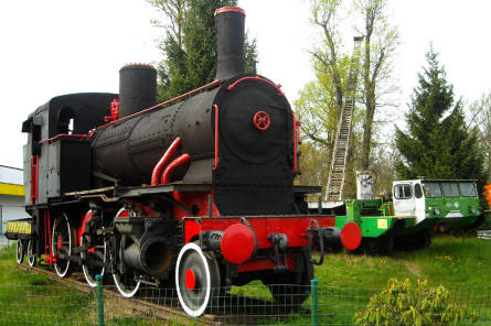 A vintage steam locomotive displayed at the Museum Gottard Park.