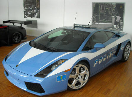 A Lamborghini Gallardo Polizia Stradale displayed at the Lamborghini museum in Sant'Agata Bolognese. A few of these cars are actually used as police cars in Italy.