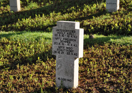 One of the many World War II tombstones at the German War Cemetery in Caira - near Monte Cassino.