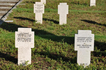 Some of the many World War II tombstones at the German War Cemetery in Caira - near Monte Cassino.