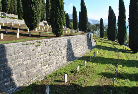 Some of the many World War II tombstones at the German War Cemetery in Caira - near Monte Cassino. Notice the very beautiful landscape.