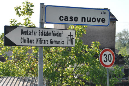 A road sign outside the German War Cemetery in Caira - near Monte Cassino.